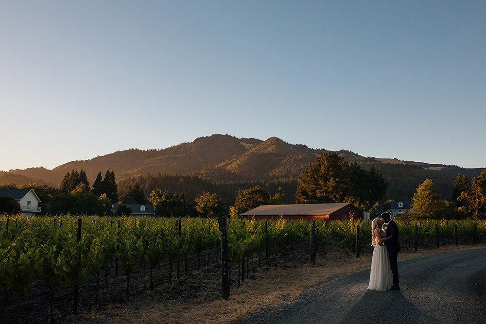 winery wedding venue at sunset