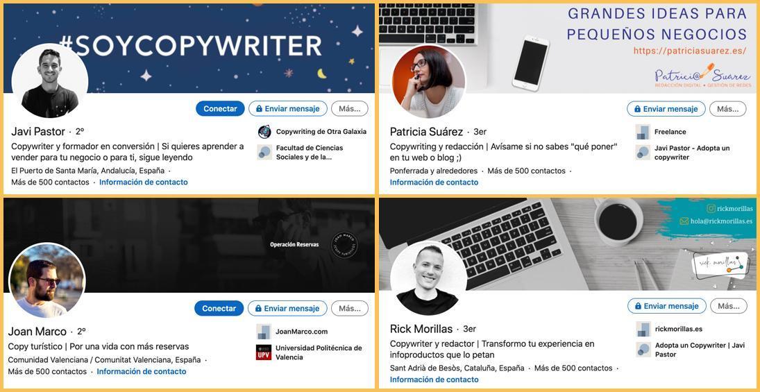 Perfiles de copywriters en LinkedIn