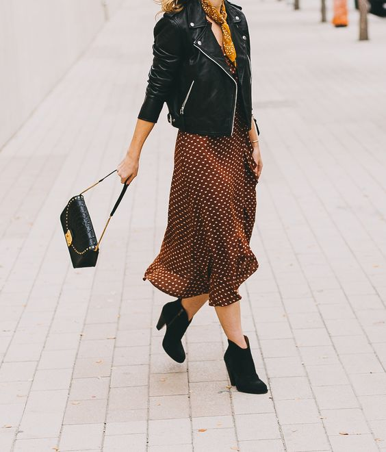 petite leather jacket and wrap dress