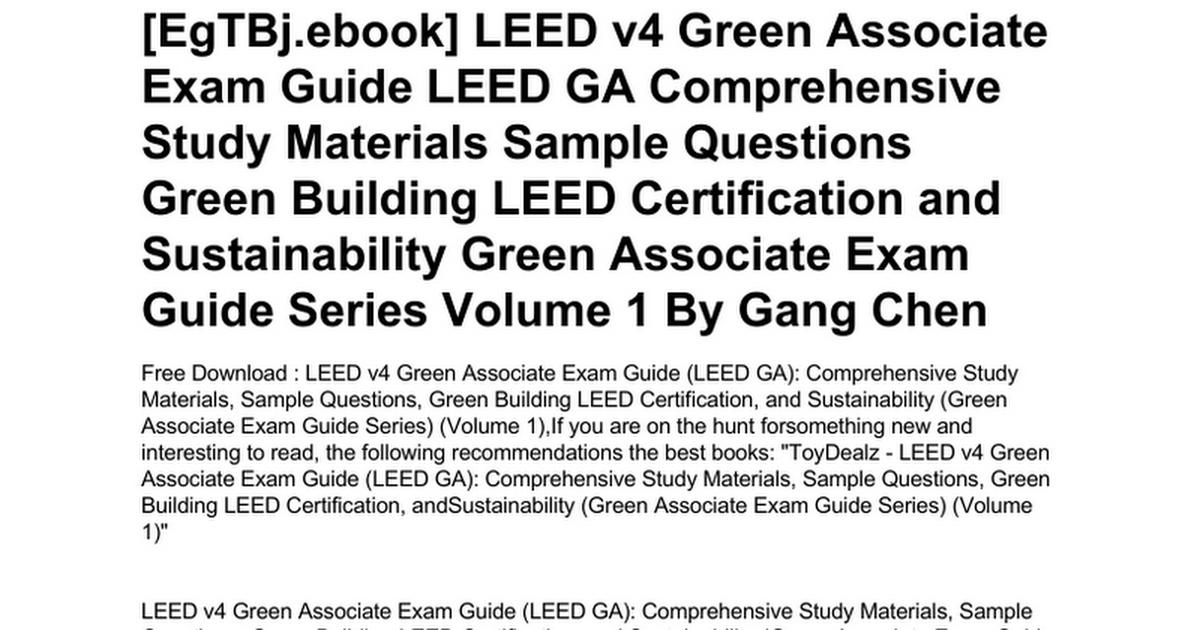 Leed V4 Green Associate Exam Guide Leed Ga Comprehensive Study