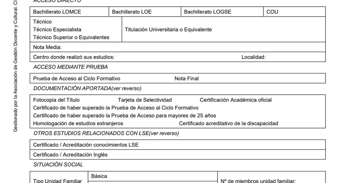 Solicitud Preinscripción Ciclo Grado Superior2019 Pdf