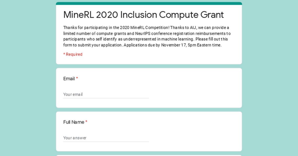 MineRL 2020 Inclusion Compute Grant