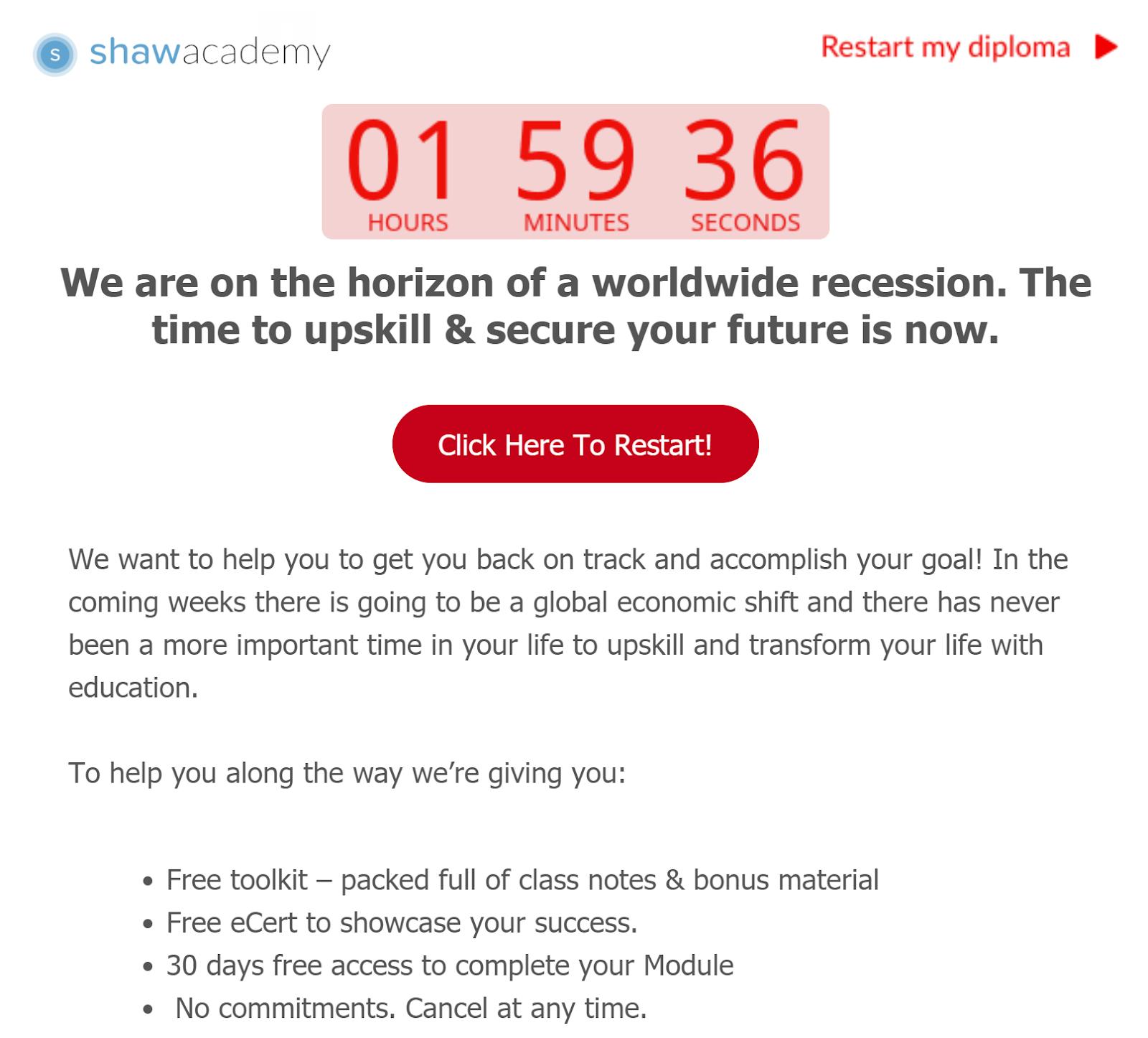 shawacademy urgency email