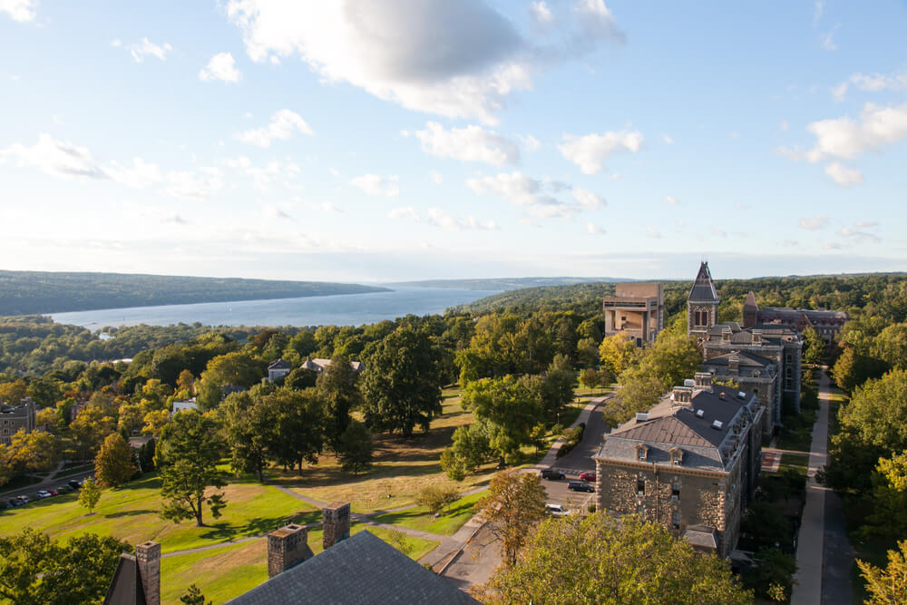 Looking over Ithaca College to Cayuga Lake