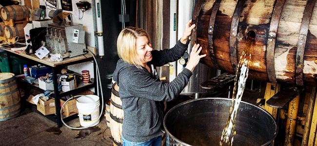 Connie Baker Empties a Barrel