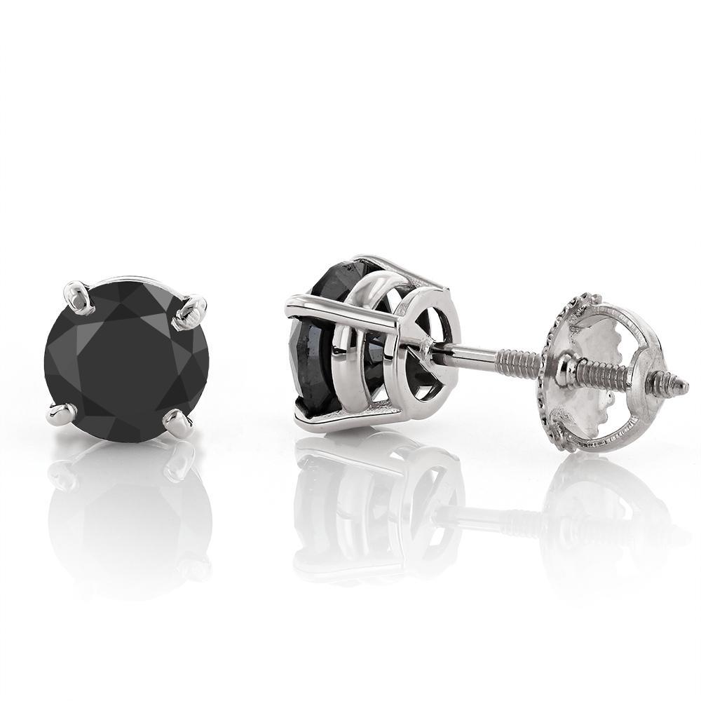 14K Gold Black Diamond Earrings Prong Set Studs 0.50ct White Image