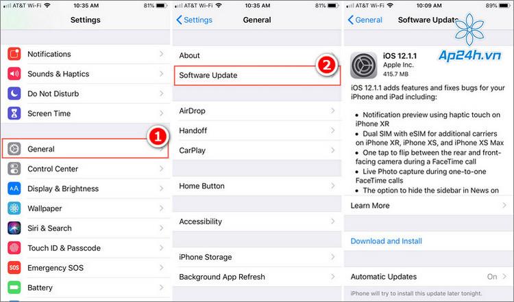 Thao tác cập nhật iOS thủ công