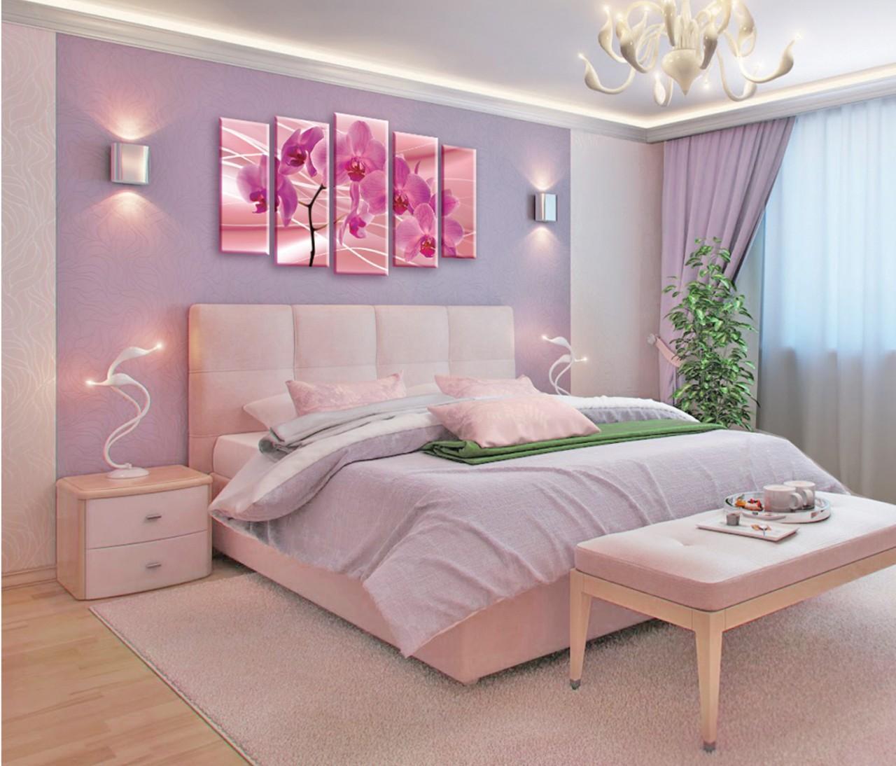 Không gian màu tím hồng với bộ đèn và tủ hiện đại