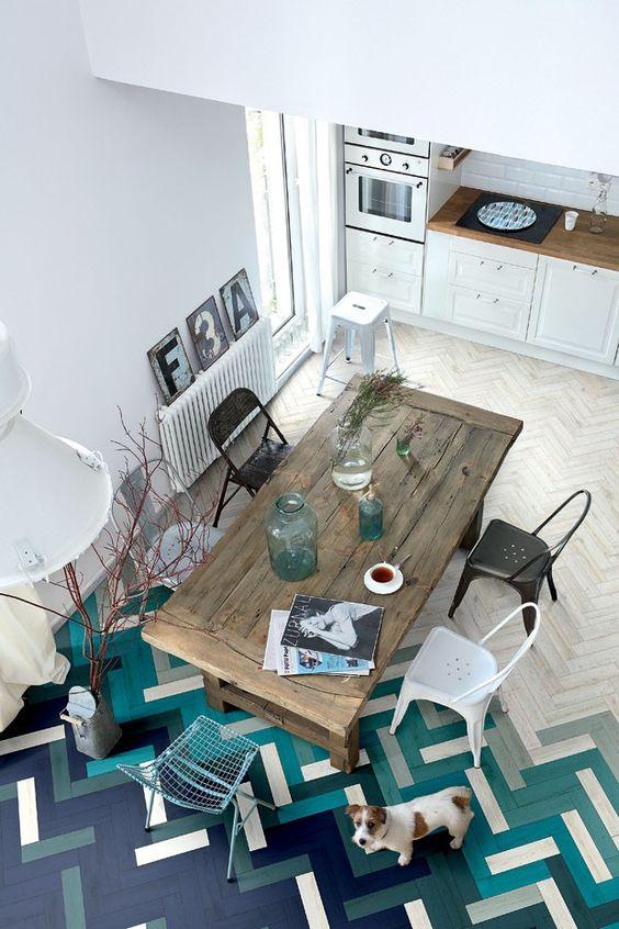 Paginação criativa na sala de jantar e cozinha