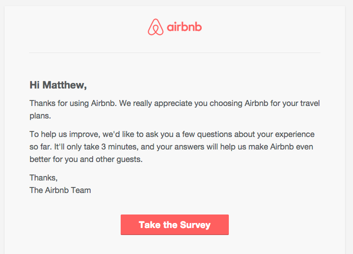 airbnb survey email example