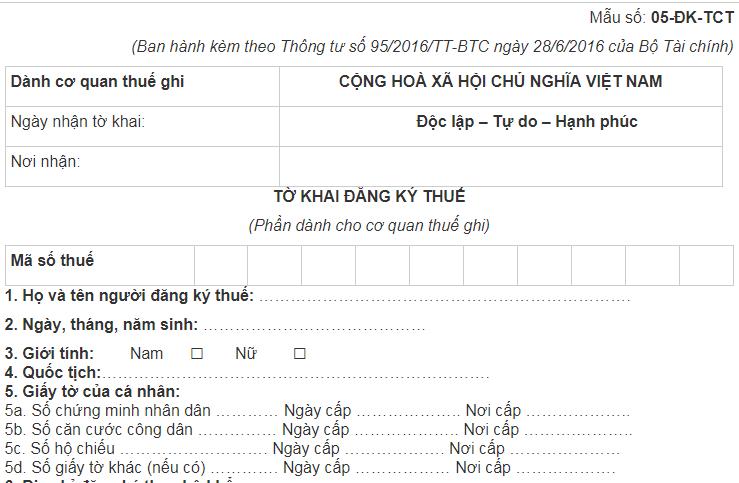Kết quả hình ảnh cho Nơi đăng ký mã số thuế cá nhân