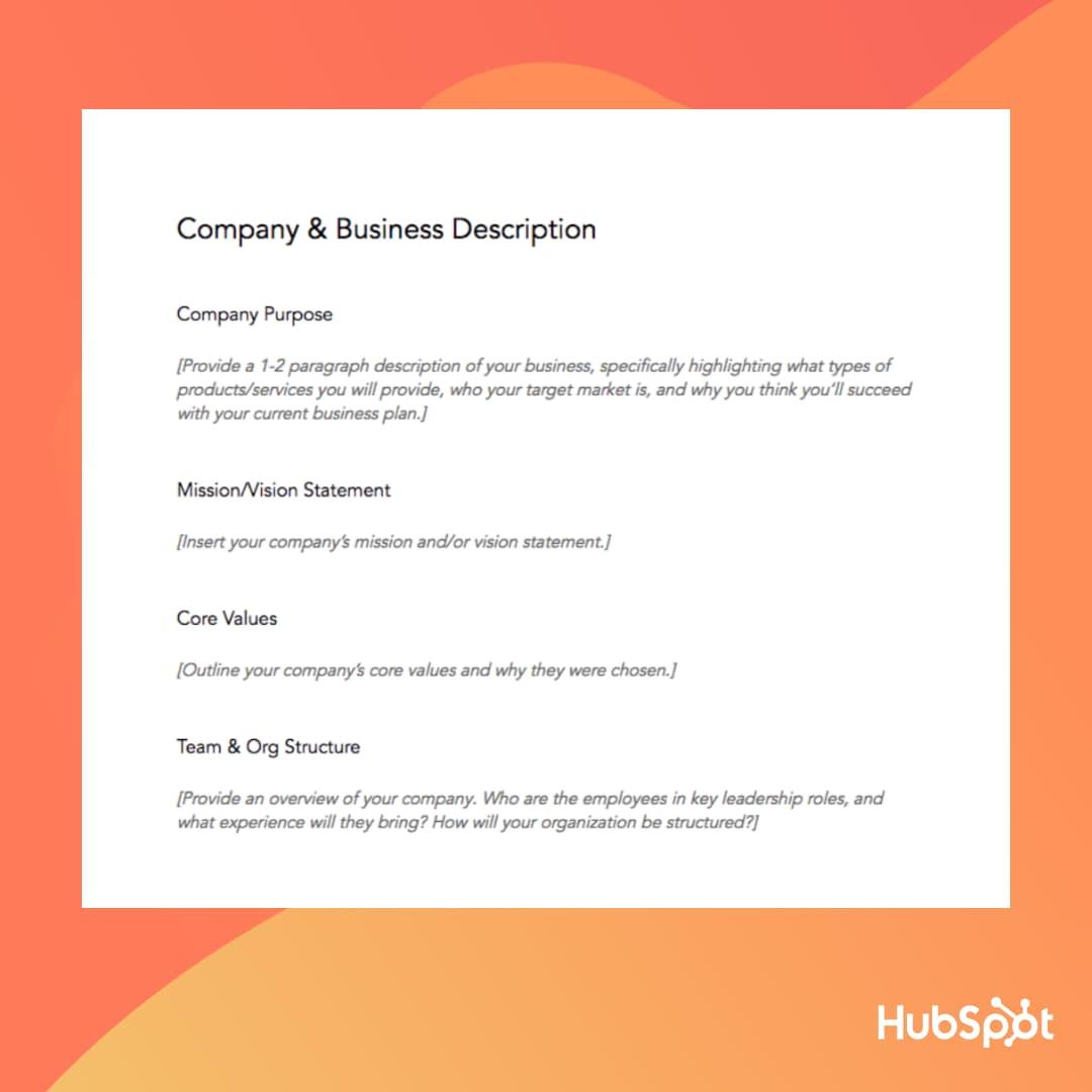 الگوی طرح کسب و کار: شرح کسب و کار