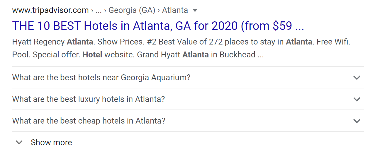 This result from TripAdvisor includes FAQ markup and takes up the vertical search real estate of 2 listings.