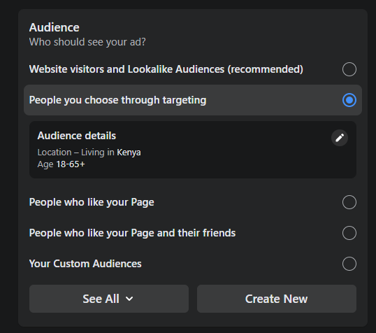 choosing facebook bosted post targeting audience