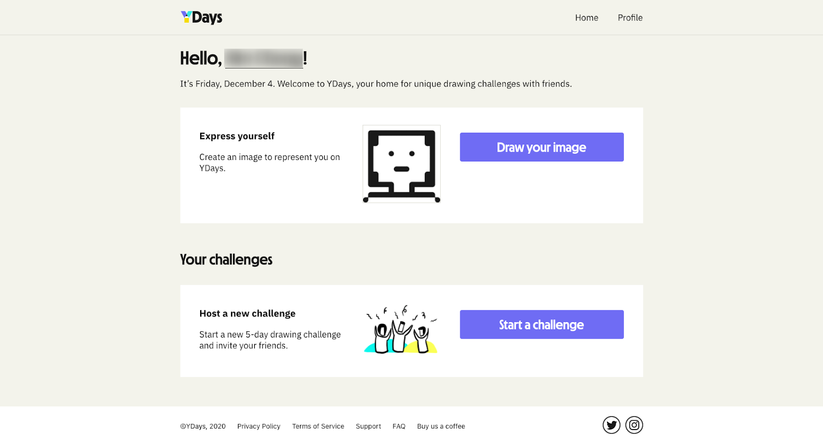 Screenshot of YDays homepage with an activity to draw yourself and an option to create a challenge with friends.