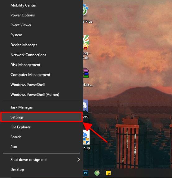 mở cửa sổ settings