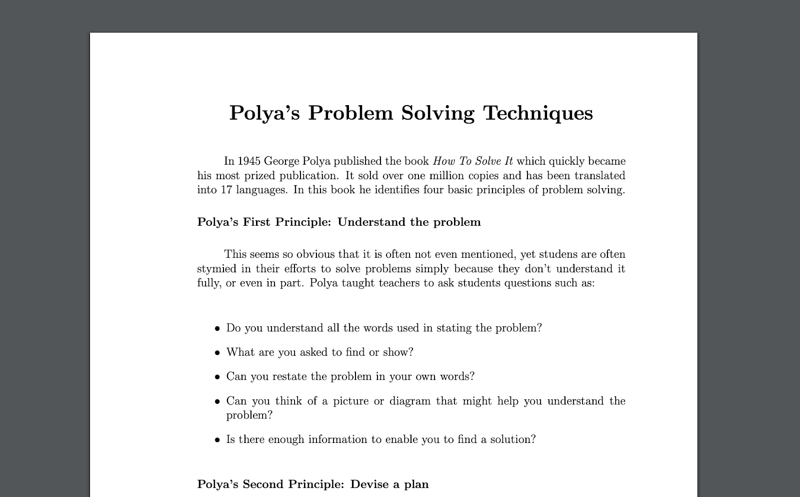 Polya's Problem Solving Techniques