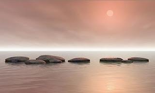 Soleil couchant, mer et galetx