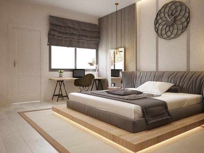 Nội thất phòng ngủ con trai trong bản vẽ thiết kế nhà ống 3 tầng
