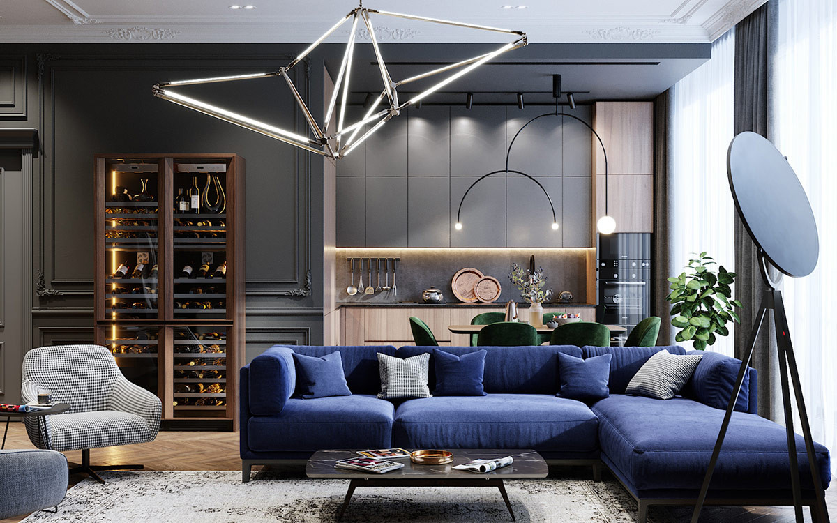 Image result for xanh thép living room""