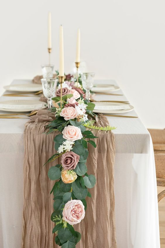 table runner with flowers for wedding table decor