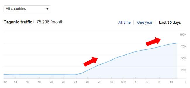 график роста трафика после обновления алгоритма Google