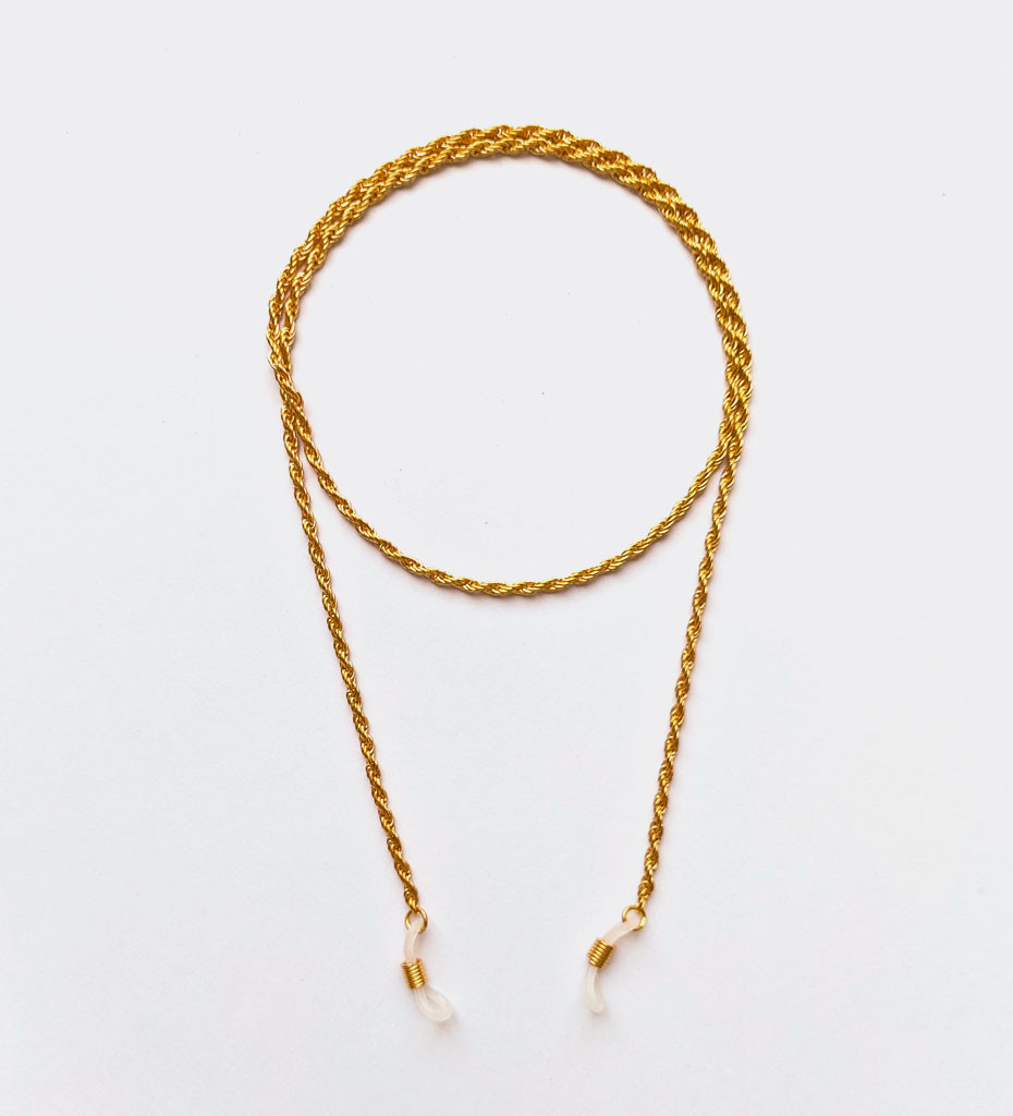 Złoty łańcuszek do okularów typu kordel