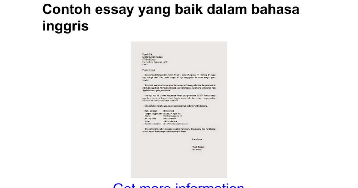 Contoh Application Letter Untuk Magang