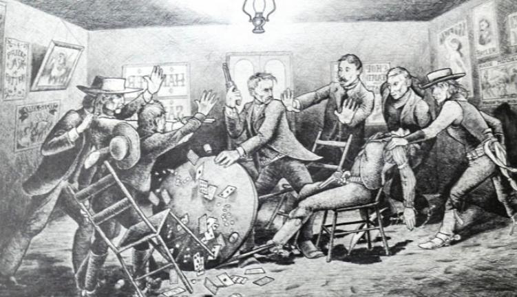 Old-time barroom fight scene--a big kerfuffle