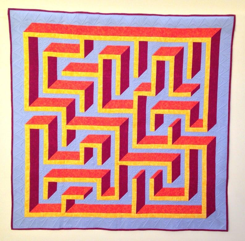 3D maze labyrinth quilt pattern