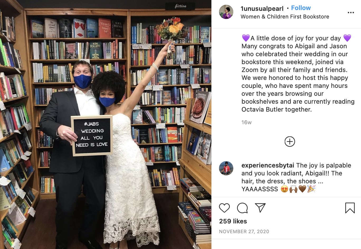 couple getting married at a bookstore