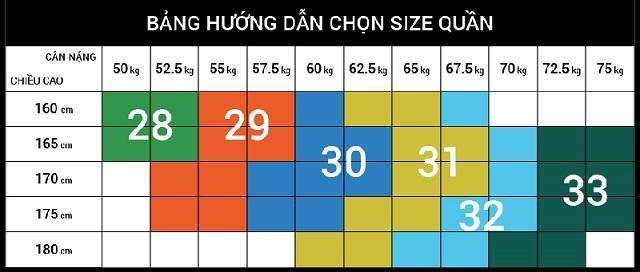 Lựa chọn size quần nam theo chiều cao cân nặng