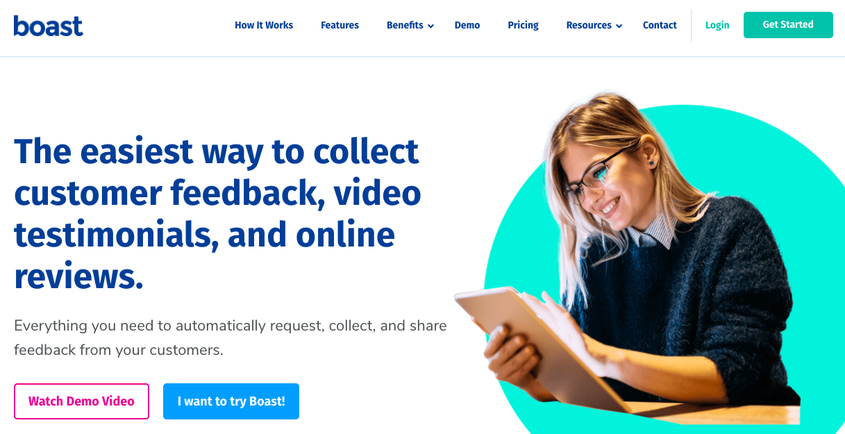 Boast.io: The easiest way to collect customer feedback, video testimonials, and online reviews.