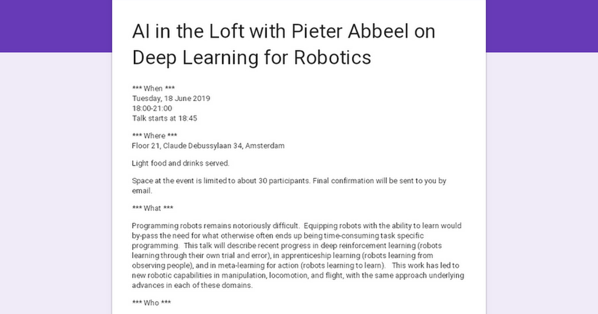 AI in the Loft with Pieter Abbeel on Deep Learning for Robotics