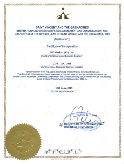 Certificate of registration of HF Markets