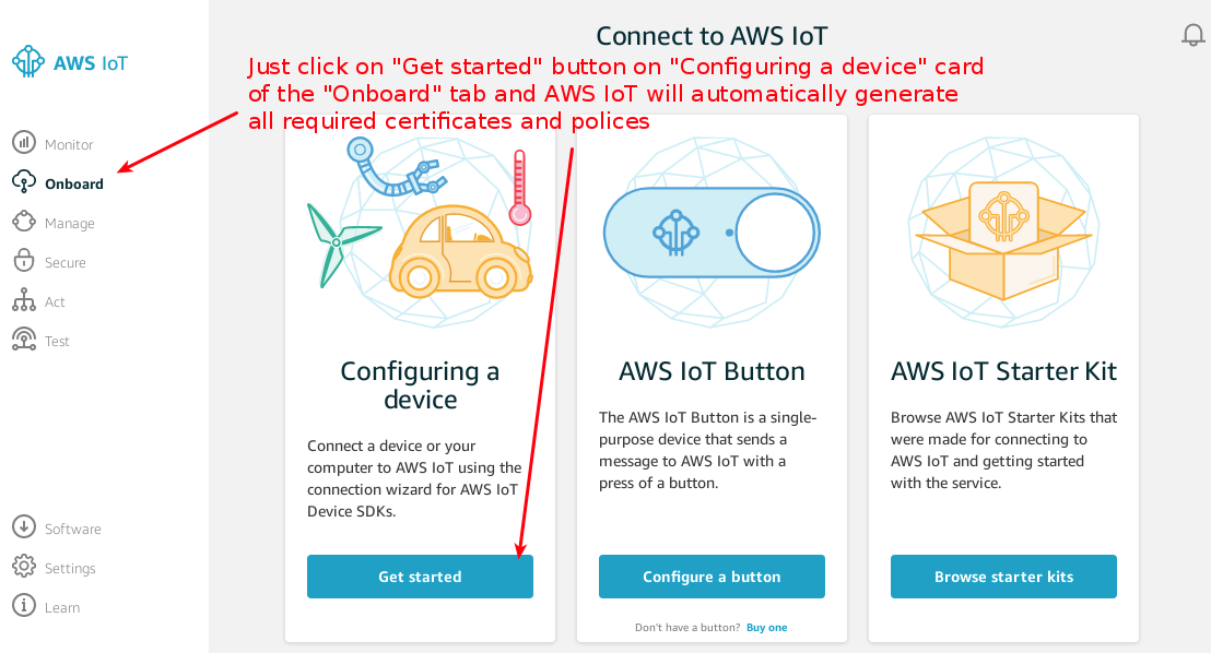 shortcut connect to aws iot
