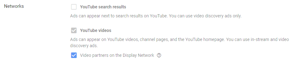 youtube ads choose whether to show on display network.