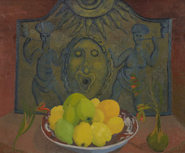 Still life before Sussex fireback (oil on canvas), Morris, Cedric (1889-1982) / Welsh, Ipswich Borough Council Museums and Galleries, Suffolk, UK, 79x97 cms, © Colchester & Ipswich Museums Service / Bridgeman Images