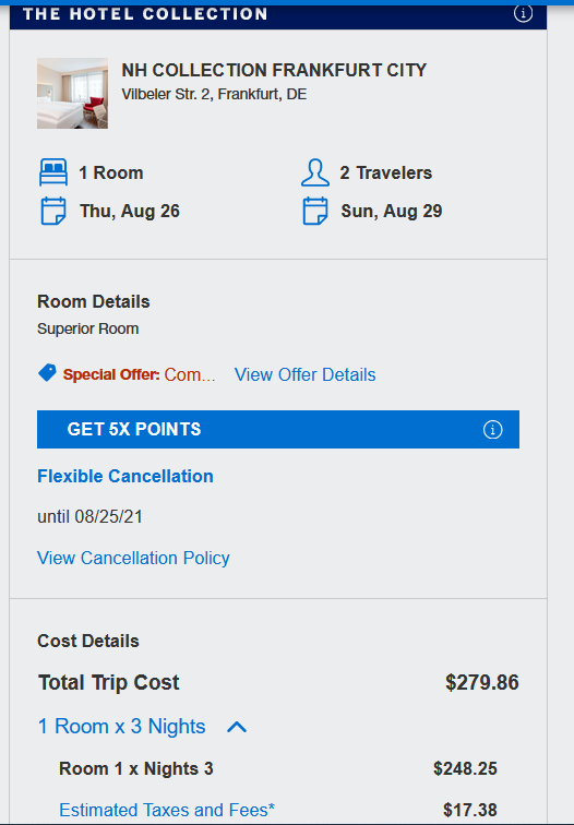 hotel booking details
