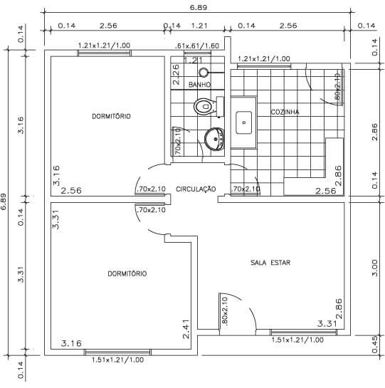 portas, louças e bancadas em uma planta de casa