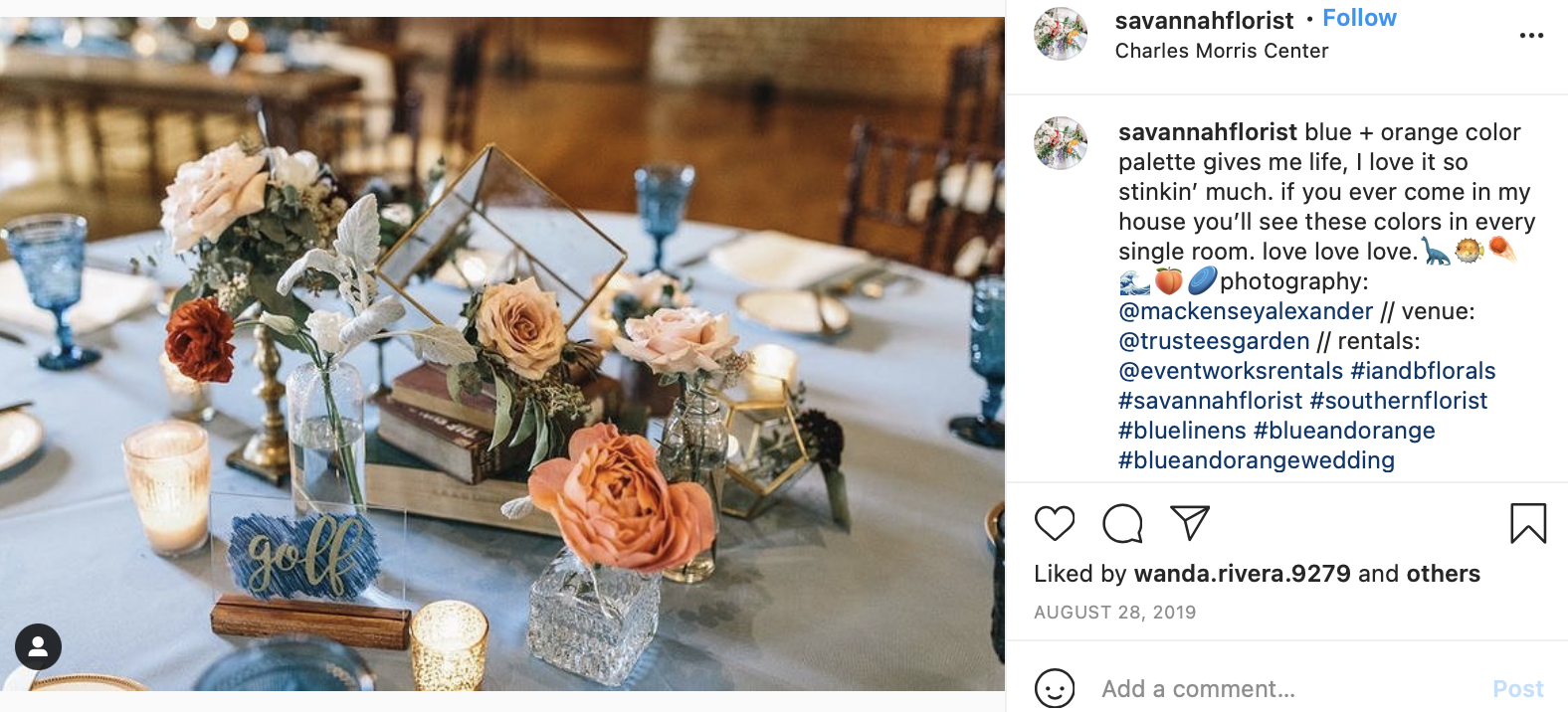 blue and light orange wedding table decor