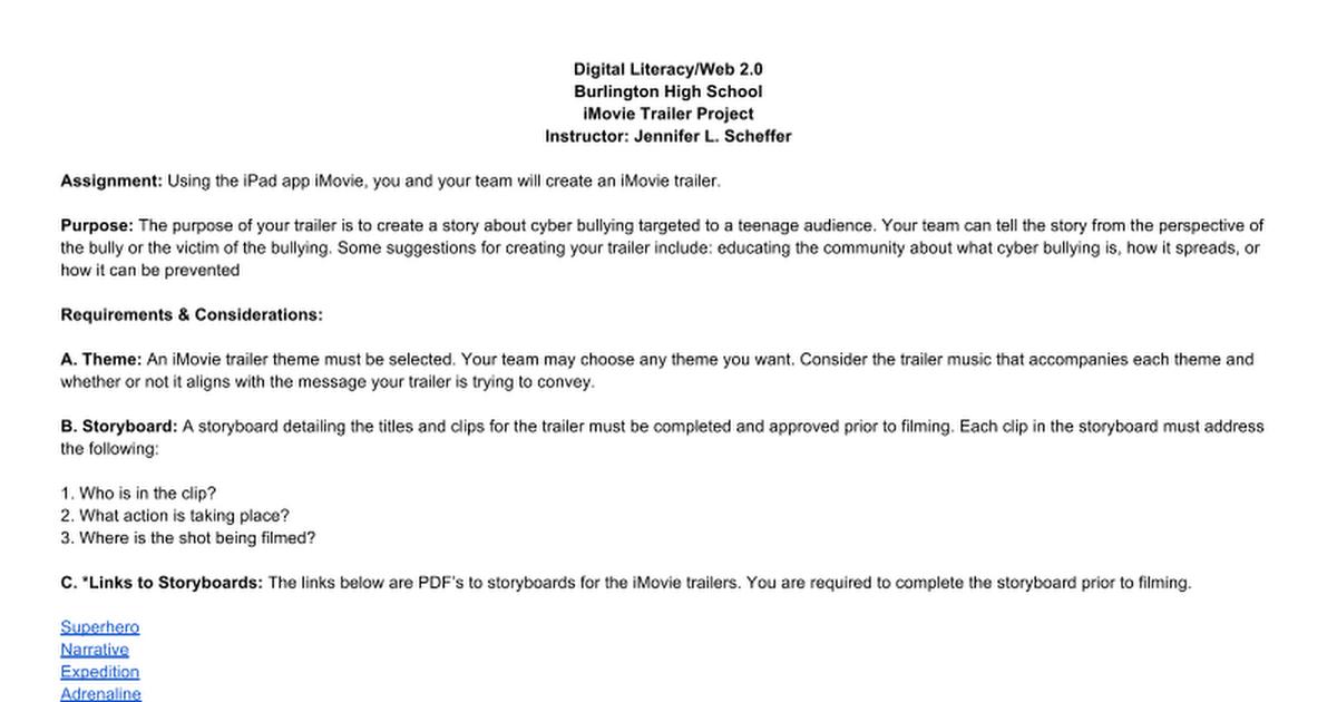 iPad iMovie Movie Trailer Rubric-J. Scheffer - Google Docs