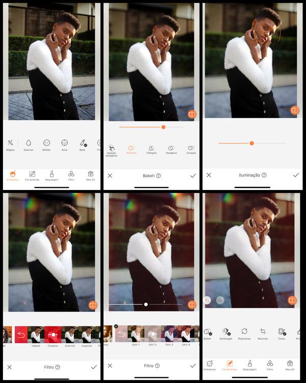 foto de uma mulher negra posando com a mão nos rosto sendo editada pelo AirBrush