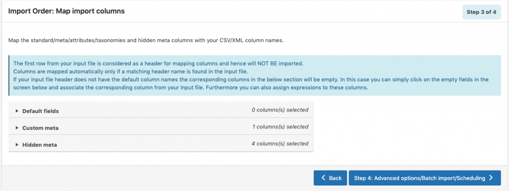 Mapping import columns during the import of orders in the import and export plugin for WooCommerce