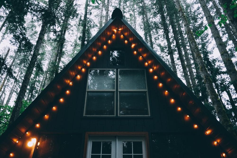 house with string lights