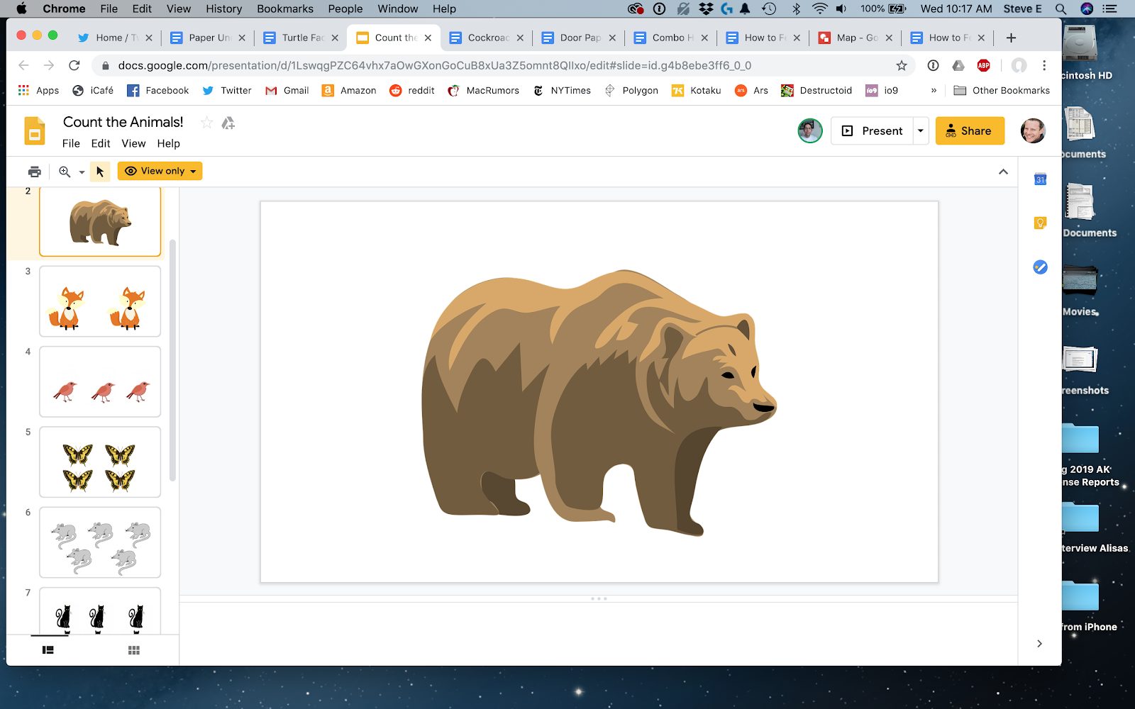 "A screenshot of a Google Doc puzzle: ""Count the Animals!"". It involves illustrations of animals. The image of a single bear has been selected."