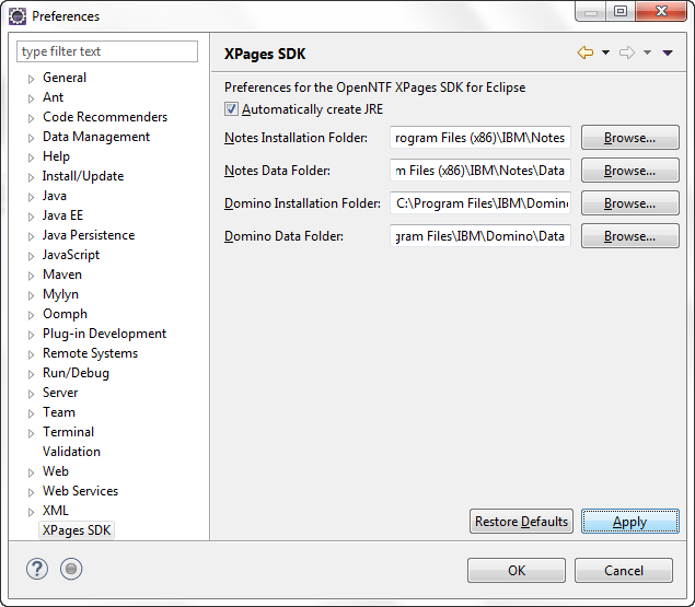 Select XPages SDK