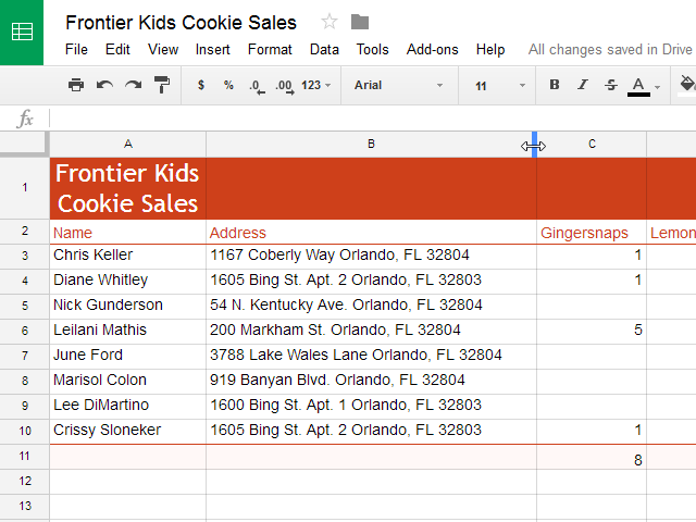 Doubling clicking to auto-size a column