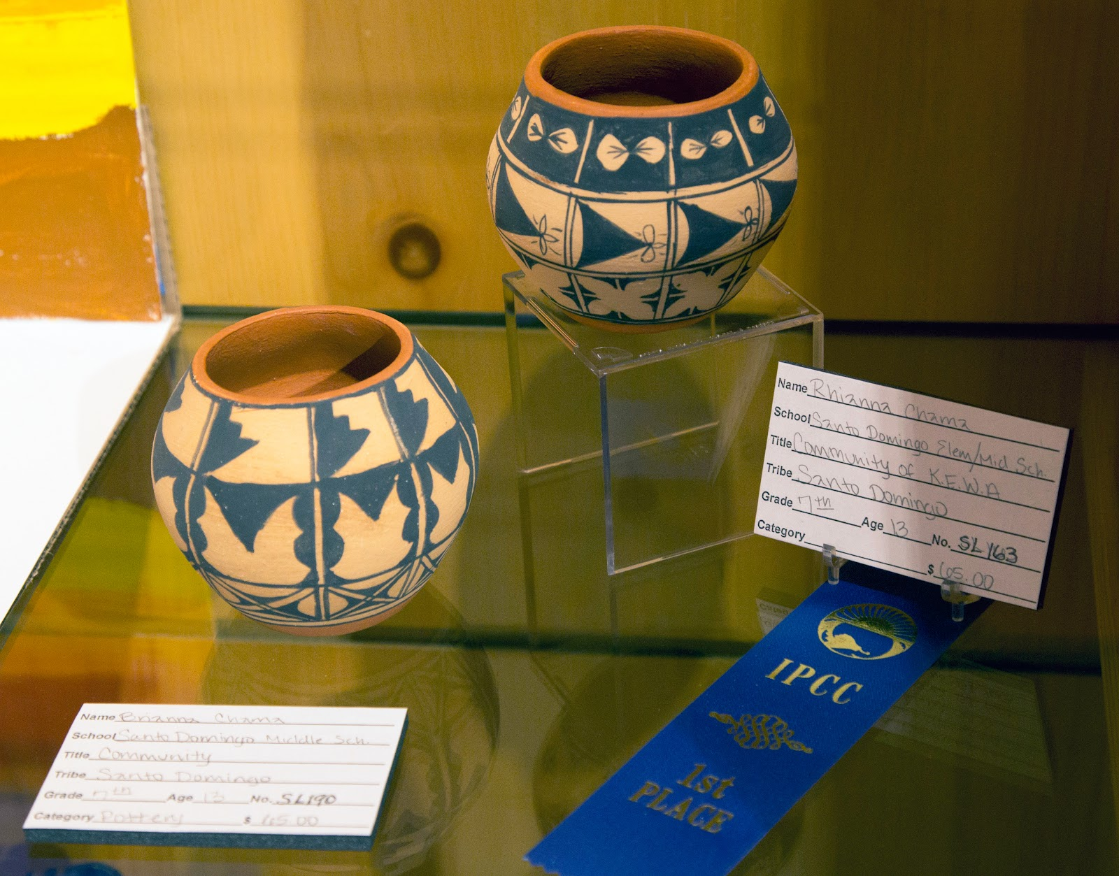 Beautiful Blue Ribbon (1st Place) traditional pottery work at the Native American Student Art Show 2015 (credit: Indian Pueblo Cultural Center)