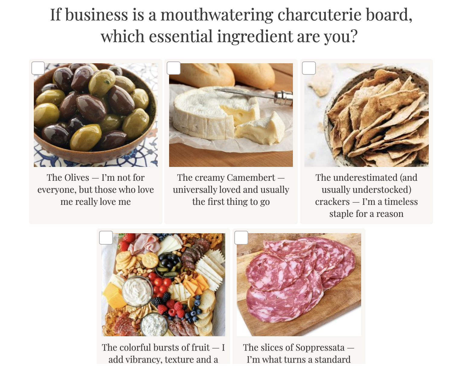question about charcuterie board items